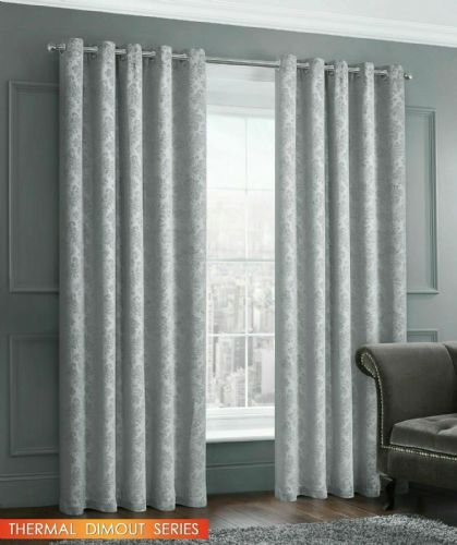 EMBOSSED DAMASK LIVINGROOM BEDROOM THERMAL BLOCKOUT RINGTOP EYELET CURTAINS SILVER